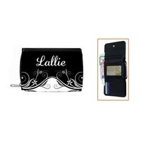 Portefeuille Baroque Noir et blanc personnalisé avec prénom