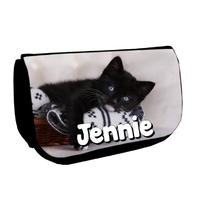 Trousse à maquillage noire Chat chaton personnalisée avec prénom