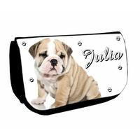 Trousse à maquillage noire Chien Bulldog personnalisée avec prénom