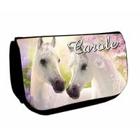 Trousse à maquillage noire Cheval chevaux personnalisée avec prénom