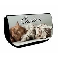 Trousse à maquillage noire Chats chatons personnalisée avec prénom