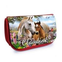 Trousse à maquillage rouge Cheval chevaux personnalisée avec prénom