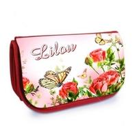 Trousse à maquillage rouge Fleurs et papillon personnalisée avec prénom