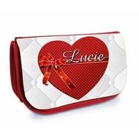 Trousse à maquillage rouge Coeur Amour personnalisée avec prénom
