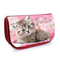 Trousse à maquillage rouge Chat chaton personnalisée avec prénom