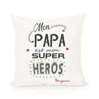 Coussin Mon papa est mon super héros personnalisé avec prénom au choix