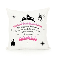 Coussin blanc Maman Princesse Contes de fées