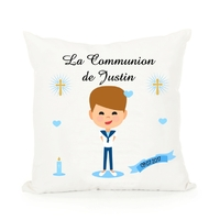 Coussin Communion garçon personnalisé avec prénom et date ....