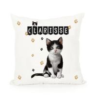 Coussin Chat Chaton cat  personnalisé avec prénom au choix