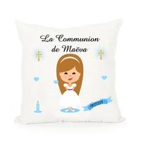 Coussin Communion fille personnalisé avec prénom et date ....