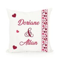 Coussin Amour Coeur Couple personnalisé avec prénoms au choix