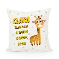 Coussin Naissance Girafe personnalisé avec prénom, date et heure de naissance, taille, poids......