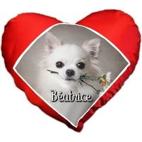 Coussin coeur Chihuahua personnalisé avec prénom au choix
