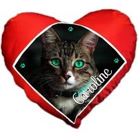 Coussin coeur Chat chaton personnalisé avec prénom au choix