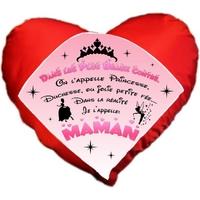 Coussin coeur rouge Maman Princesse Contes de fées