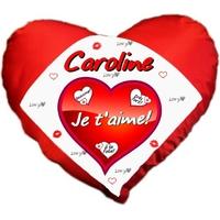 Coussin coeur rouge Amour Je t'aime personnalisé avec prénom au choix