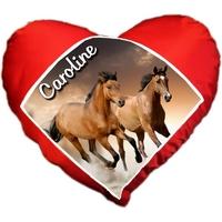 Coussin coeur Chevaux personnalisé avec prénom au choix