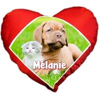 Coussin coeur Chien et chat personnalisé avec prénom au choix