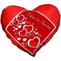 Coussin coeur rouge Amour personnalisé avec prénom au choix