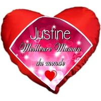 Coussin coeur Meilleure maman du monde personnalisé avec prénom au choix