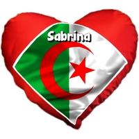 Coussin coeur Algérie personnalisé avec prénom au choix
