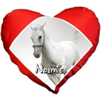 Coussin coeur Cheval personnalisé avec prénom au choix
