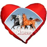 Coussin coeur Cheval Chevaux personnalisé avec prénom au choix