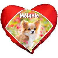 Coussin coeur Chien Chihuahua personnalisé avec prénom au choix