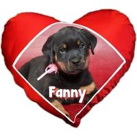 Coussin coeur Chiot Rottweiler personnalisé avec prénom au choix