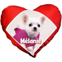 Coussin coeur Chiot Chihuahua personnalisé avec prénom au choix