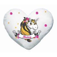 Coussin coeur Licorne personnalisé avec prénom