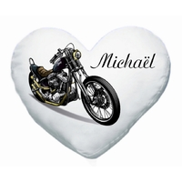 Coussin coeur Moto personnalisé avec prénom