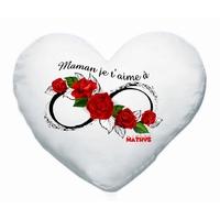 Coussin coeur blanc Maman je t'aime à l'infini personnalisé avec prénom