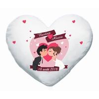 Coussin coeur blanc Mariage personnalisé avec prénoms et date