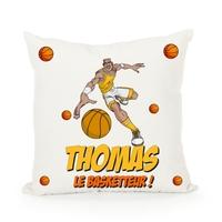 Housse de coussin Basketball personnalisée avec prénom