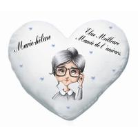 Coussin coeur blanc Mamie Grand mère personnalisé avec prénom et message