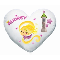 Coussin coeur blanc Princesse personnalisé avec prénom
