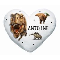 Coussin coeur blanc Dinosaure personnalisé avec prénom