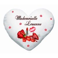 Coussin coeur blanc Glamour Maquillage Mademoiselle personnalisé avec prénom