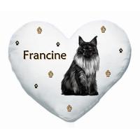 Coussin coeur blanc Chat Main coon personnalisé avec prénom