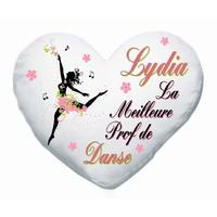 Coussin coeur blanc La meilleure prof de danse personnalisé avec prénom au choix