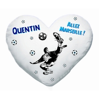 Coussin coeur blanc Football Marseille personnalisé avec prénom au choix