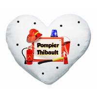 Coussin coeur blanc Pompier personnalisé avec prénom au choix