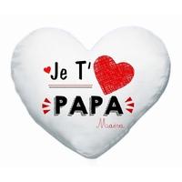 Coussin coeur blanc Je t'aime papa personnalisé avec prénom en signature