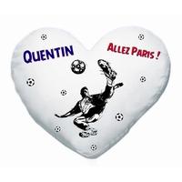 Coussin coeur blanc Football Paris personnalisé avec prénom au choix