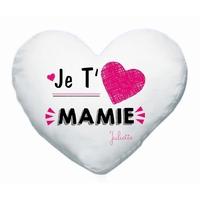 Coussin coeur blanc Je t'aime mamie personnalisé avec prénom en signature