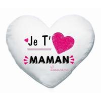 Coussin coeur blanc Je t'aime maman personnalisé avec prénom en signature