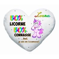 Coussin coeur blanc 50% licorne 50% connasse personnalisé avec prénom au choix