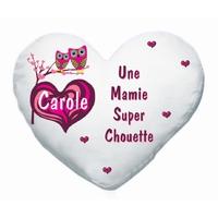 Coussin coeur blanc Mamie super chouette personnalisé avec prénom au choix