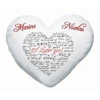 Coussin coeur blanc Amour Je t'aime personnalisé avec prénoms au choix